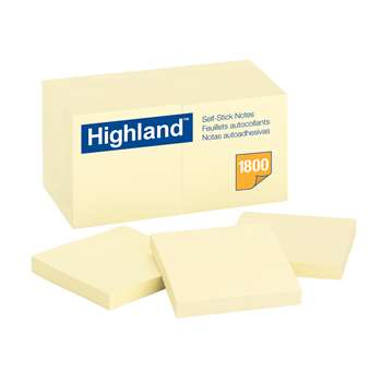 Highland Self Stick 18Pk Removable Notes 3X3 Yellow by 3M: Post It ...