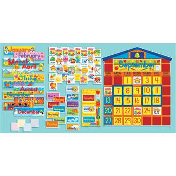 Bulletin board set school house calendar by scholastic for K decorations trading
