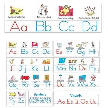 Dr Seuss Manuscript Alphabet Bulletin Board Set by Eureka: Language Arts:  K12SchoolSupplies net